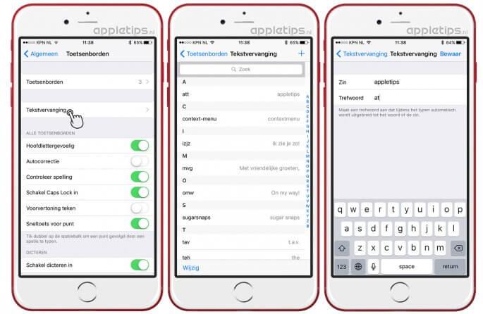 tekst vervangen in iOS met tekstvervanging