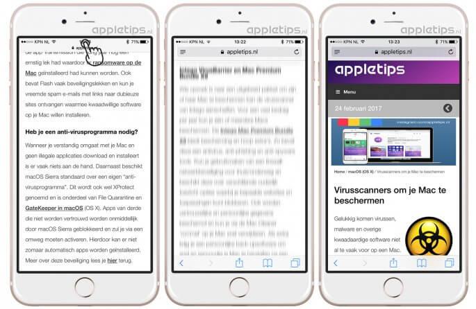 bovenkant in iOS pagina app met trucje