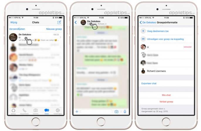 Whatsapp groepsgesprek verlaten en verwijderen