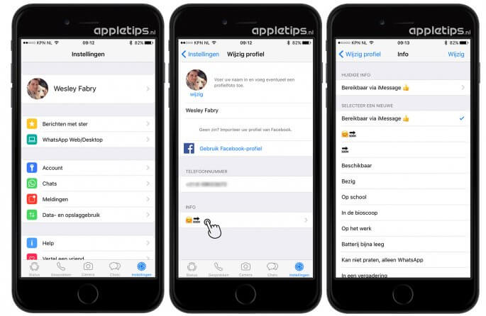 Oude whatsapp status activeren in iOS