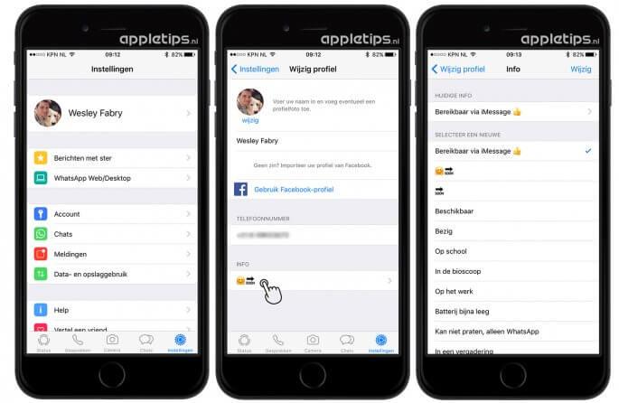 Oude whatsapp status activeren in iOS