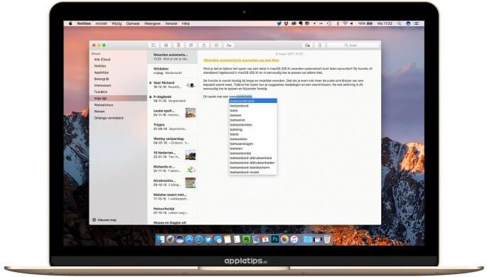 Automatisch woorden aanvullen in macOS en OS X