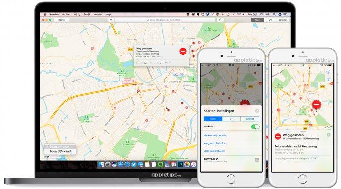 Verkeer tonen in Apple Kaarten app