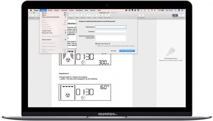 iWork bestanden beveiligen touch id op Mac