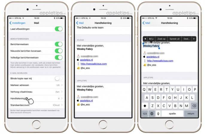 iOS Mail handtekeningen instellen per account