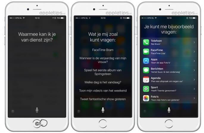 Enkele Siri voorbeelden