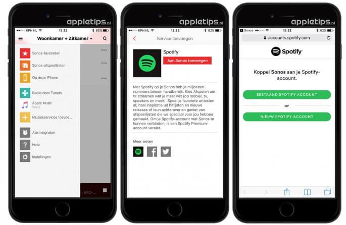 Spotify toevoegen aan sonos