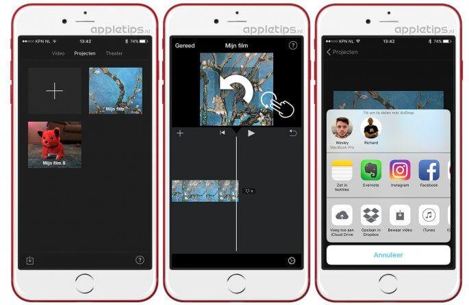 Verticale video's roteren met behulp van iMovie