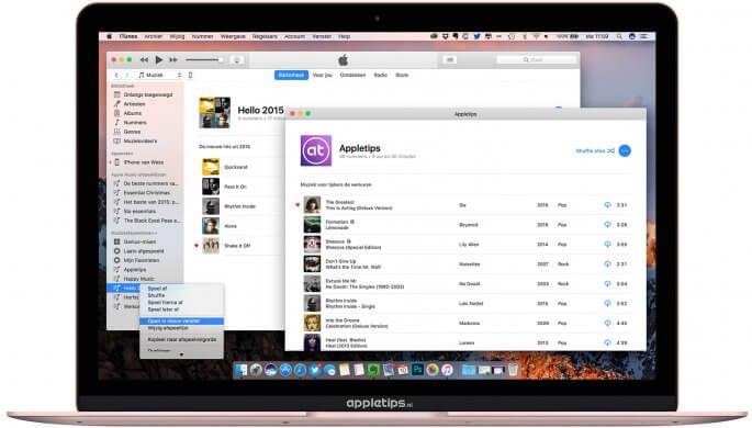 afspeellijst openen in een nieuwe Venster in iTunes