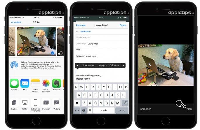 afbeeldingen toevoegen aan Mail in iOS