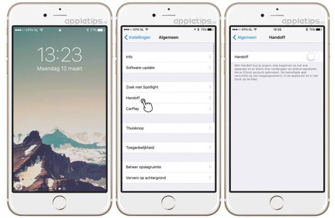 handoff uitschakelen op een iPhone of iPad