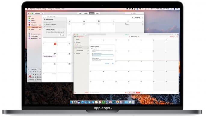 Agenda delen via mac en iCloud