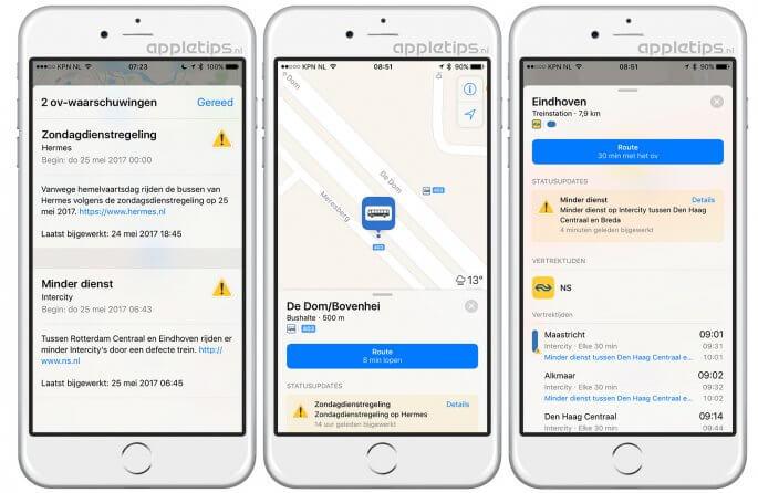 Nederlandse OV-informatie in Apple Kaarten