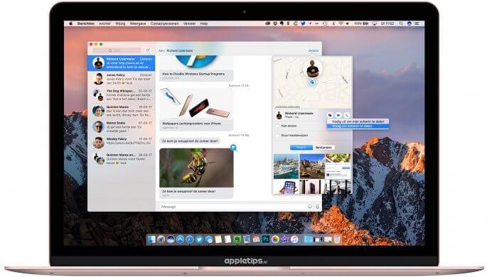 scherm delen van je Mac met schermdeling via berichten