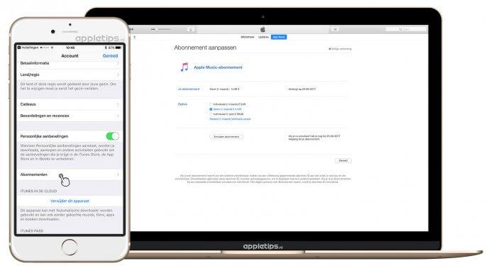 Abonnementen wijzigen in iOS, app store of iTunes