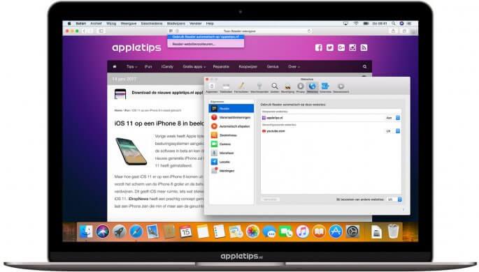 automatische reader-functie in macOS High Sierra