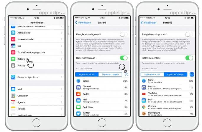 batterijgebruik in iOS bekijken