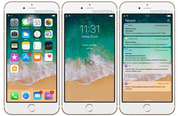 vernieuwde berichtencentrum en toegangsscherm iOS 11
