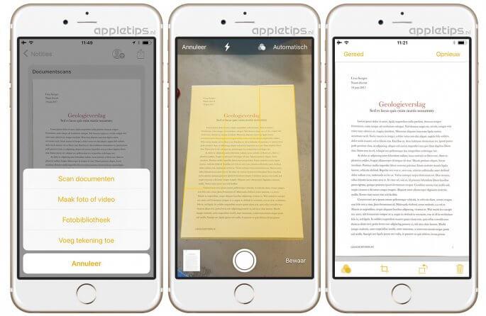 documenten scannen in iOS 11 notities