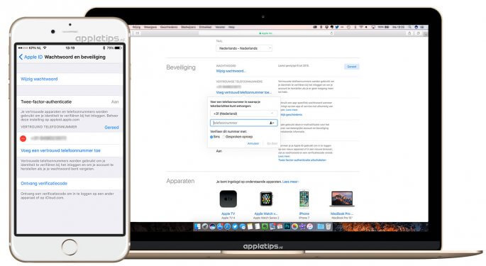 Extra vertrouwde telefoonnummers toevoegen aan je Apple ID
