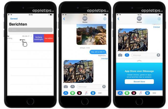 iOS 11 berichten app-lade en interface