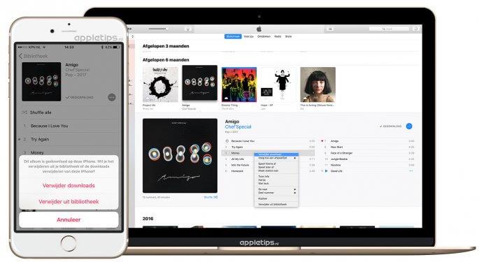 offline muziek verwijderen in iOS en iTunes