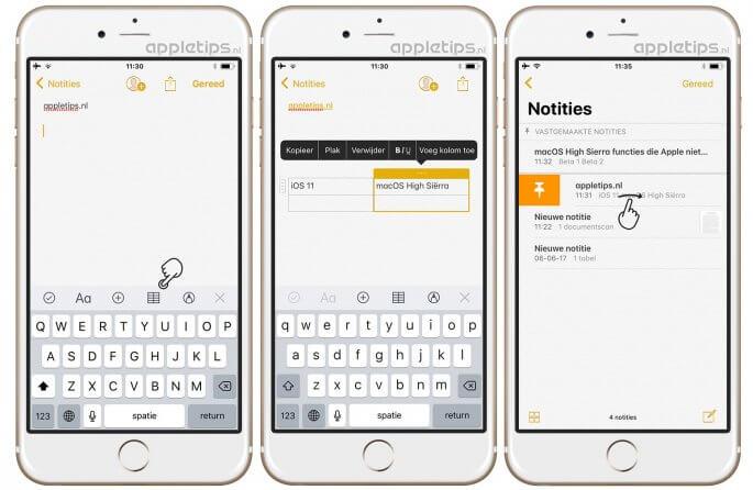 Tabellen toevoegen aan iOS 11 notities