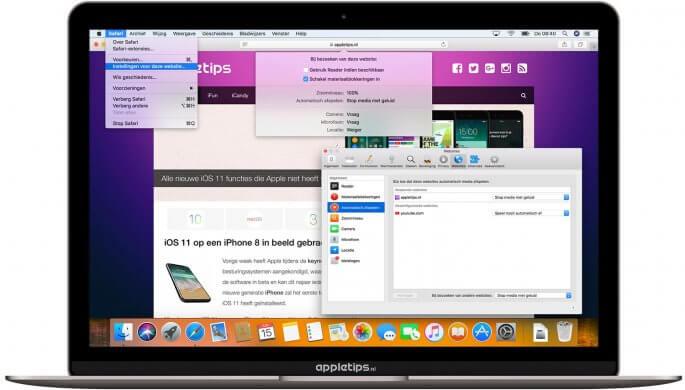 website-instellingen voor macOS high Sierra