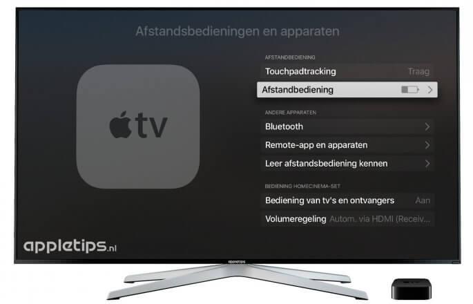 Afstandsbedeining instellingen op de Apple TV voor Siri remote