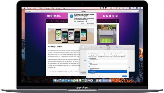 Geschiedenis en cookies verwijderen in mac Safari en chrome