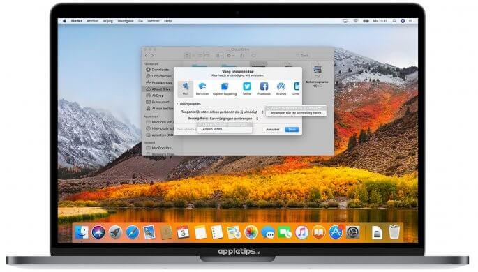 iCloud Drive bestanden delen