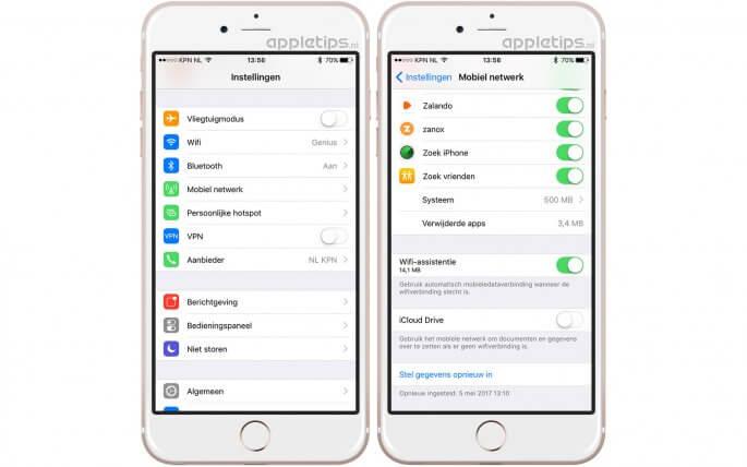 mobiele netwerk voor iCloud drive uitschakelen in iOS