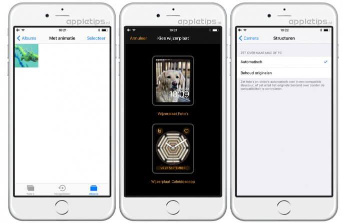 iOS 11 foto's gif bestanden en wijzerplaten maken