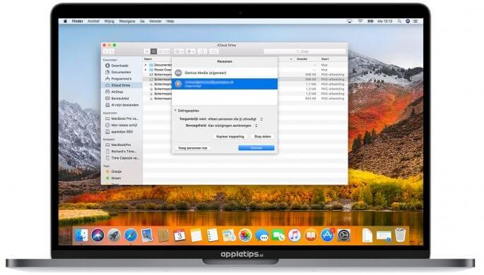 Personen beheren in iCloud drive bestanden delen in macOS high sierra