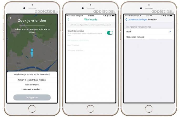 snap map uitschakelen op een iPhone