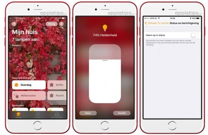 iOS Status HomeKit-accessoires bekijken en wijzigen in Woning