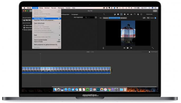 iMovie Verticale video's bijsnijden tot horizontale video