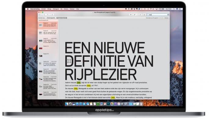 zoeken in pdf-bestanden op een Mac met voorvertoning