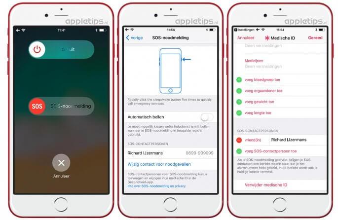 SOS-noodmelding instellen op een iPhone met iOS 11