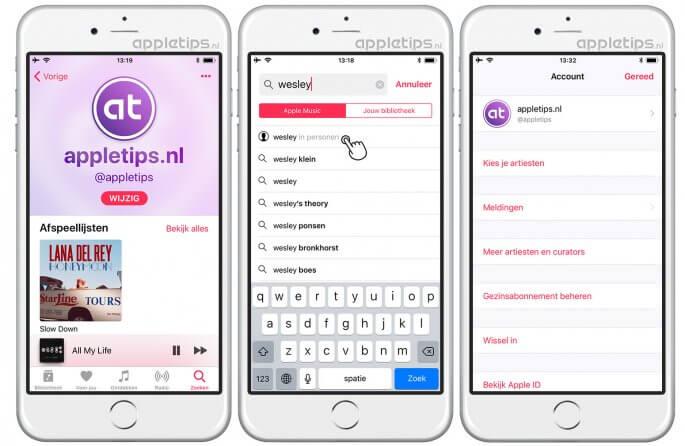 Apple Music profiel beheren en vrienden zoeken