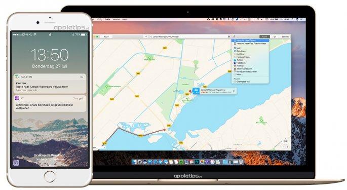 locatie in Kaarten van je Mac doorsturen naar je iPhone