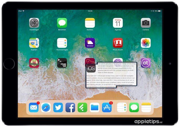 Drag & Drop gebruiken op een iPad voor teskt
