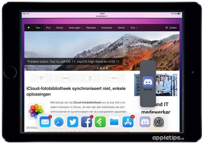 iOS 11 Dock openen in apps
