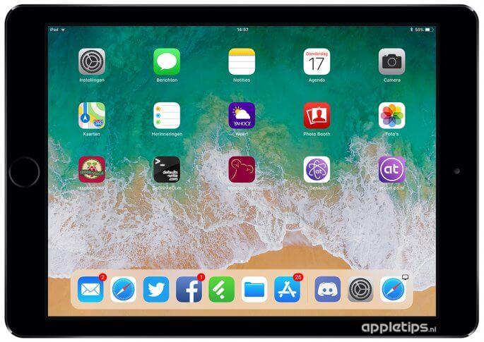 iOS 11 dock op iPAd voorbeeld
