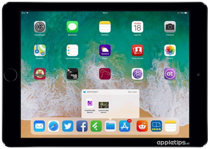 widget bestanden gebruiken in iOS 11 dock