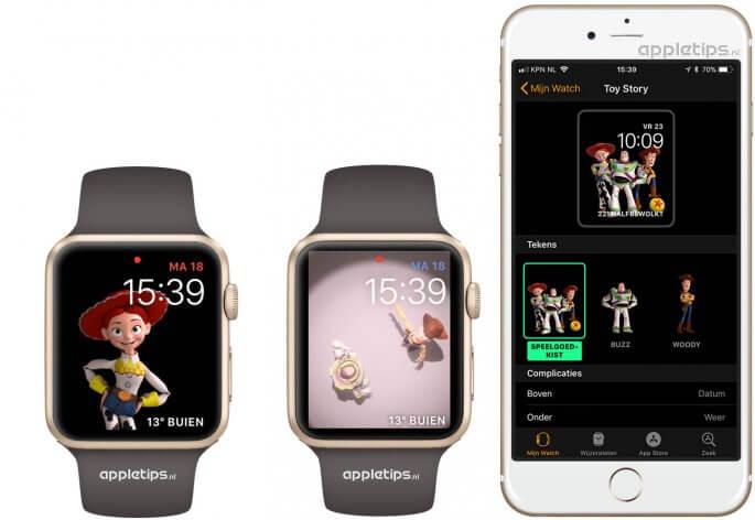 Toy Story wijzerplaat in watchOS 4 op de Apple Watch