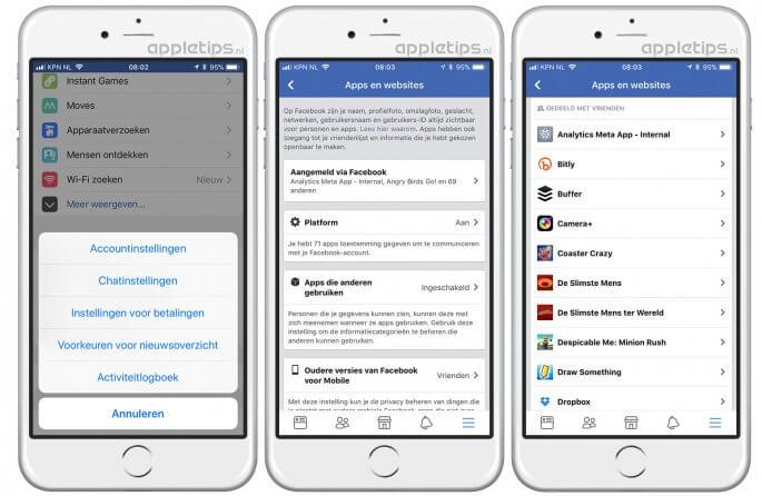 gekoppelde apps facebook beheren