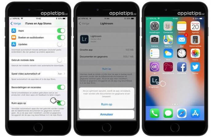 iOS apps tijdelijk opruimen voor extra opslagruimte