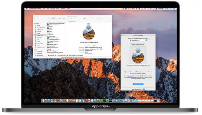 macOS high sierra installer disk