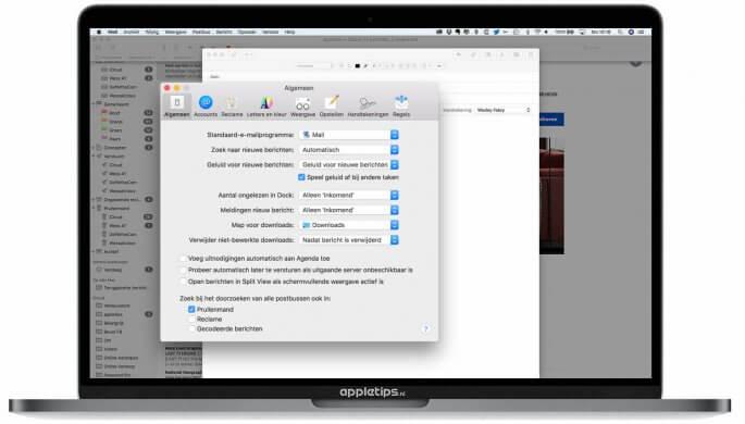 Split View uitschakelen voor Mail in schermvullende weergave
